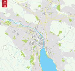Vector color map of  Zurich, Switzerland. City Plan of  Zurich