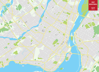 Vector color map of  Montreal, Canada. City Plan of Montreal