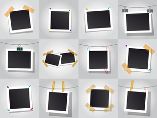 Set of square vector photo frames. Isolated on white background.