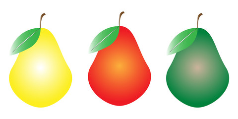 Three different colored fruits illustration