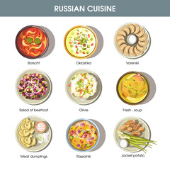 Russian food cuisine vector icons for restaurant menu