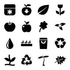 Set of 16 eco filled icons