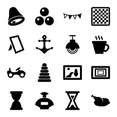 Set of 16 vintage filled icons