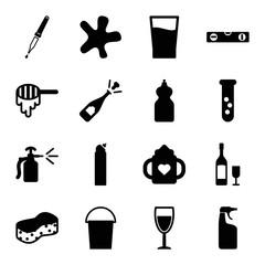 Set of 16 liquid filled icons