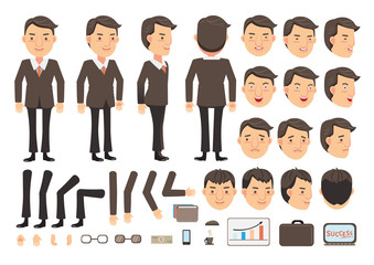 Businessman character creation set. Icons with different types of faces and hair style, emotions,  front, rear, side view of male person. Moving arms, legs. Vector illustration
