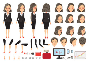 Businesswoman character creation set. Icons with different types of faces and hair style, emotions,  front, rear, side view of male person. Moving arms, legs. Vector illustration