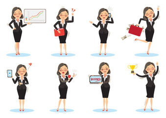 Businesswoman working poses. female isolated on white background. vector illustration