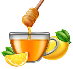Glass cup of tea with honey and lemon. Vector illustration.