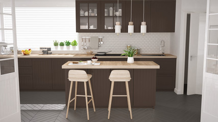 Scandinavian classic kitchen with wooden and brown details, minimalistic interior design