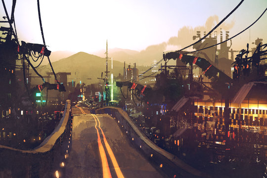 sci-fi scenery of highway street on futuristic city with structures and buildings at sunset,illustration painting