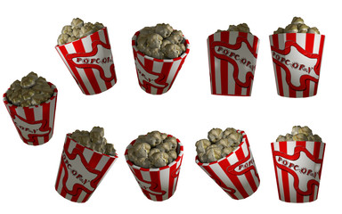 3d-Illustration, Popcorn im Becher