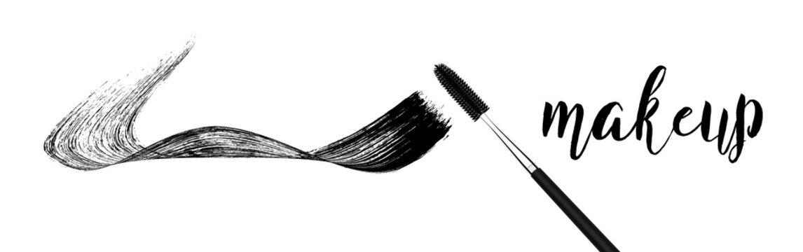 make-up cosmetic mascara brush stroke on white.