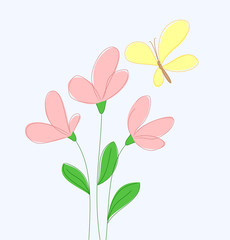 Spring flowers and yellow butterfly. Vector illustration