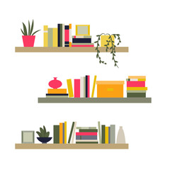 Vector illustration. The collection of bookshelves.