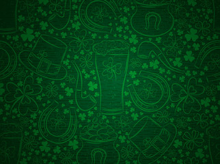 Green  background for Patricks day with ber mug, horseshoe, hat, pipe and shamrocks, vector
