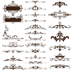 Art deco design elements of vintage ornaments and borders corners of the frameIsolated art nouveau flourishes on a white background