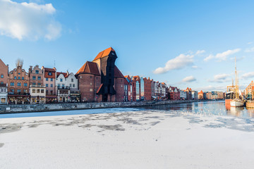 Gdansk, Danzig, polish city in the winter time.