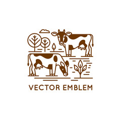 Emblem with cows - illustration for milk and dairy industry