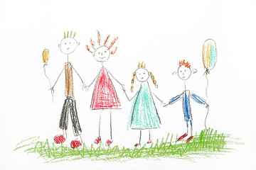 Drawing made by a child, happy family.Drawing made by a child, happy family