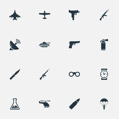 Set Of 16 Simple War Icons. Can Be Found Such Elements As Extinguisher, Chemistry, Rifle Gun And Other.