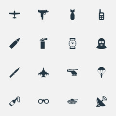 Set Of 16 Simple Military Icons. Can Be Found Such Elements As Molotov, Firearm, Signal Receiver And Other.