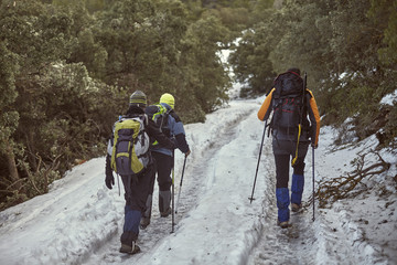 Group of hikers climbing a snowy hill