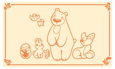 Woodland animals set. Vector characters bear fox rabbit hedgehog mouse.