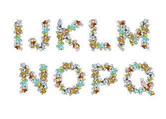 Rubbish font. Trash ABC. garbage alphabet. Letter litter. Part 2