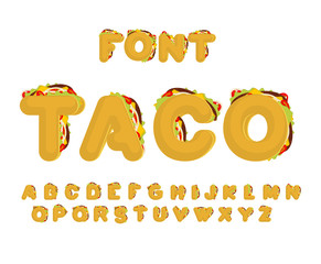 Taco font. Mexican fast food ABC. Tacos alphabet. traditional Mexico meal letter
