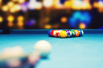 bar billiards - ready for break shot