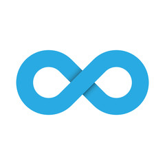 Infinity symbol icon. Representing the concept of infinite, limitless and endless things. Simple blue vector design element on white background.