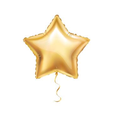Gold star balloon on background