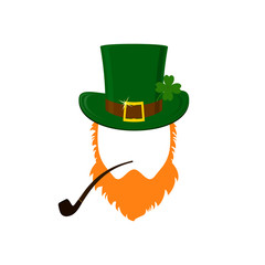 Vector modern flat design icon on Saint Patrick's Day leprechaun with green hat, red beard, smoking pipe and no face