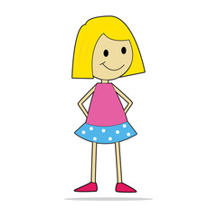 Vector character illustration. Cute little girl.