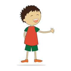Vector character illustration. Cute little boy.