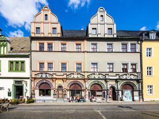 Altstadt von Weimar, Marktplatz mit Cranachhaus, Weimar, Thüringen, Deutschland