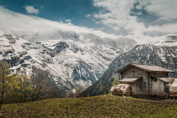 The old hut in the Lauterbrunnen Valley