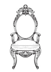 Exquisite Fabulous Imperial Baroque chairs in luxurious fabric ornament. Vector French Luxury rich intricate structure. Victorian Royal Style decor