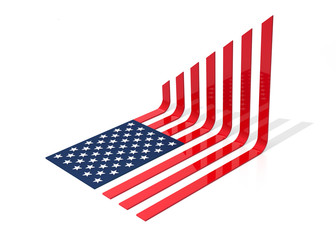 USA Flag Charts and Growing. 3D Illustration