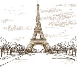 Landscape with Eiffel tower in brown colors on white background