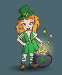 Cute cartoon irish leprichaun girl with the pot of gold
