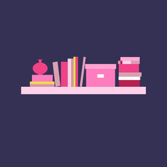 Vector illustration. Bookshelf.