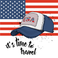 Hand drawn  baseball cap on background. Print of USA flag. hand drawn vector illustration