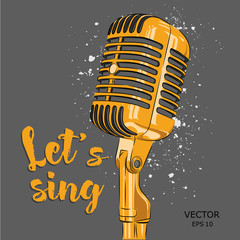 The image of the microphone. Vector illustration.