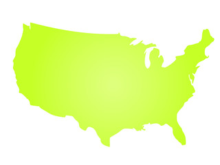 Green radial gradient silhouette map of United States of America, aka USA. Vector illustration.