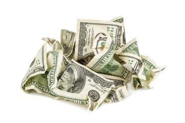 heap of crumpled dollars