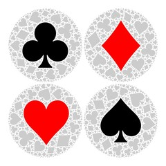 Mosaic circle of poker playing card suit with main symbol in the middle - heart, diamond, spade and club. Flat vector illustration on white background.