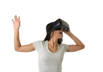 attractive happy woman excited using 3d goggles watching 360 virtual reality vision enjoying