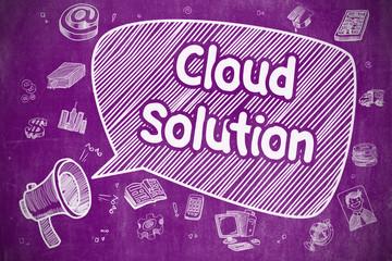 Cloud Solution - Doodle Illustration on Purple Chalkboard.