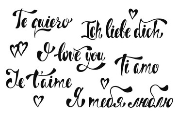 Declaration of love in English, French, Italian, German, Russian. Handwritten love lettering collection. I love you. Te quiero. Ich liebe dich. Je t'aime. Ti amo.